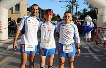 Villalba, Uceda y Becerra antes de empezar la carrera.
